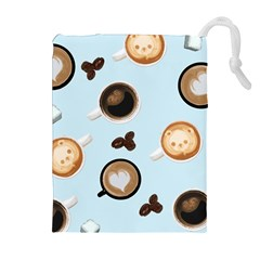 Cute Coffee Pattern On Light Blue Background Drawstring Pouches (extra Large)