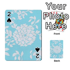 Aqua Blue Floral Pattern Playing Cards 54 Designs