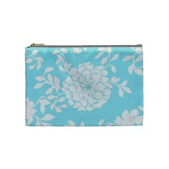 Aqua Blue Floral Pattern Cosmetic Bag (Medium)