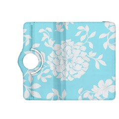 Aqua Blue Floral Pattern Kindle Fire HDX 8.9  Flip 360 Case