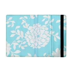Aqua Blue Floral Pattern iPad Mini 2 Flip Cases
