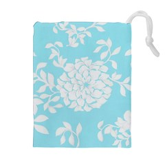 Aqua Blue Floral Pattern Drawstring Pouches (Extra Large)