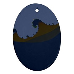 Ocean Waves Oval Ornament (Two Sides)