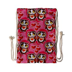 Cute Owls In Love Drawstring Bag (small)