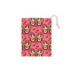 Cute Owls in Love Drawstring Pouches (XS)