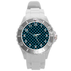 Blue Hearts Valentine s Day Pattern Round Plastic Sport Watch (L)