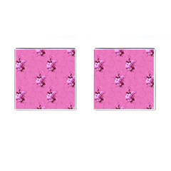 Pink Floral Pattern Cufflinks (Square)