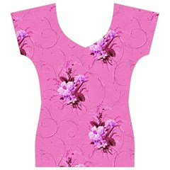Pink Floral Pattern Women s V-Neck Cap Sleeve Top