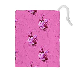 Pink Floral Pattern Drawstring Pouches (Extra Large)