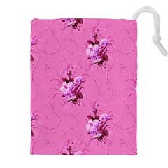Pink Floral Pattern Drawstring Pouches (xxl)