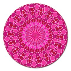 Pink and Red Mandala Magnet 5  (Round)