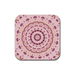 Pink and Purple Roses Mandala Rubber Coaster (Square)