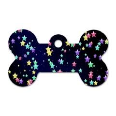 Pretty Stars Pattern Dog Tag Bone (One Side)