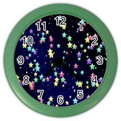 Pretty Stars Pattern Color Wall Clocks