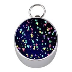 Pretty Stars Pattern Mini Silver Compasses