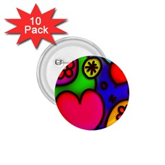 Colorful Modern Love 2 1.75  Buttons (10 pack)