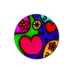 Colorful Modern Love 2 Rubber Coaster (Round)