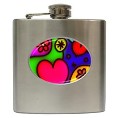 Colorful Modern Love 2 Hip Flask (6 oz)