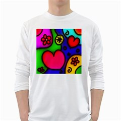 Colorful Modern Love 2 White Long Sleeve T-Shirts