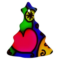 Colorful Modern Love 2 Christmas Tree Ornament (2 Sides)