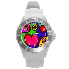 Colorful Modern Love 2 Round Plastic Sport Watch (L)