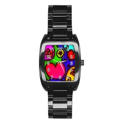 Colorful Modern Love 2 Stainless Steel Barrel Watch