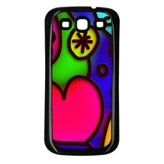 Colorful Modern Love 2 Samsung Galaxy S3 Back Case (Black)