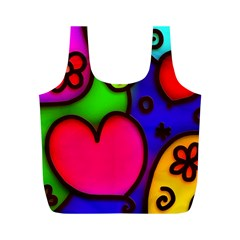 Colorful Modern Love 2 Full Print Recycle Bags (M)