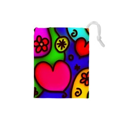 Colorful Modern Love 2 Drawstring Pouches (small)