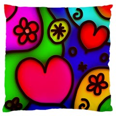Colorful Modern Love 2 Standard Flano Cushion Cases (Two Sides)