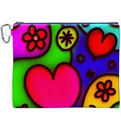 Colorful Modern Love 2 Canvas Cosmetic Bag (XXXL)