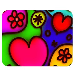 Colorful Modern Love 2 Double Sided Flano Blanket (Medium)