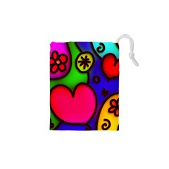 Colorful Modern Love 2 Drawstring Pouches (XS)