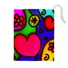 Colorful Modern Love 2 Drawstring Pouches (extra Large)