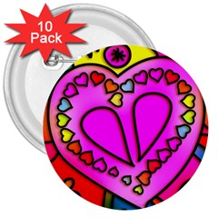 Colorful Modern Love 3  Buttons (10 pack)