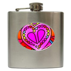 Colorful Modern Love Hip Flask (6 oz)