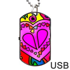 Colorful Modern Love Dog Tag Usb Flash (one Side)