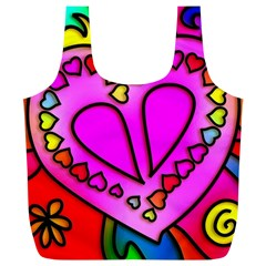 Colorful Modern Love Full Print Recycle Bags (L)