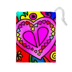 Colorful Modern Love Drawstring Pouches (Large)