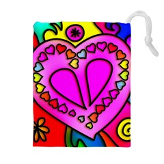 Colorful Modern Love Drawstring Pouches (extra Large)