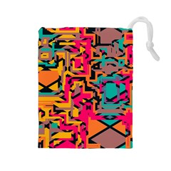 Colorful shapes Drawstring Pouch