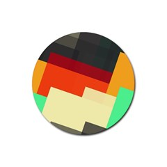 Miscellaneous retro shapes Rubber Round Coaster (4 pack)