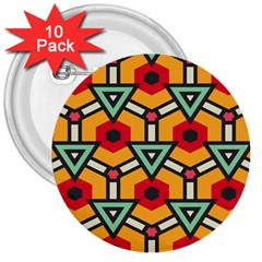 Triangles and hexagons pattern 3  Button (10 pack)