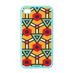 Triangles and hexagons pattern Apple iPhone 4 Case (Color)