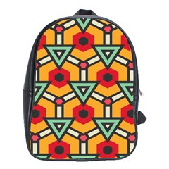 Triangles and hexagons pattern School Bag (XL)