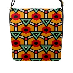 Triangles and hexagons pattern Flap Closure Messenger Bag (L)