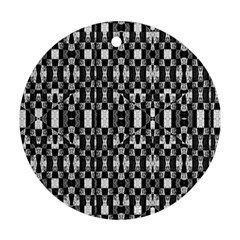 Black and White Geometric Tribal Pattern Ornament (Round)