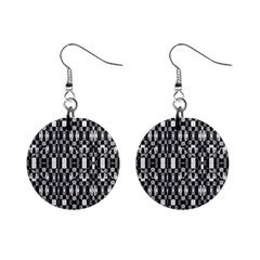 Black and White Geometric Tribal Pattern Mini Button Earrings