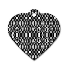 Black and White Geometric Tribal Pattern Dog Tag Heart (One Side)
