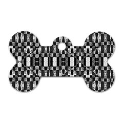 Black and White Geometric Tribal Pattern Dog Tag Bone (Two Sides)